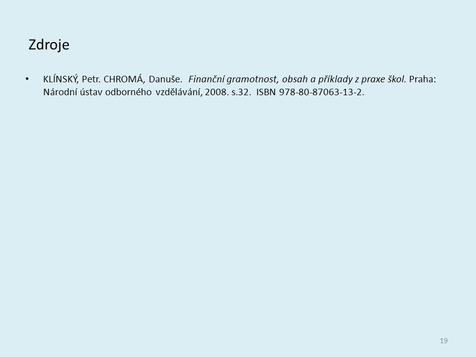 Zdroje KLÍNSKÝ, Petr. CHROMÁ, Danuše. Finanční gramotnost, obsah a příklady z praxe škol. Praha: Národní ústav odborného vzdělávání, 2008. s.32. ISBN