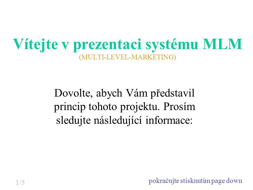 Vítejte v prezentaci systému MLM (MULTI-LEVEL-MARKETING) Dovolte, abych Vám představil princip tohoto projektu. Prosím sledujte následující informace: