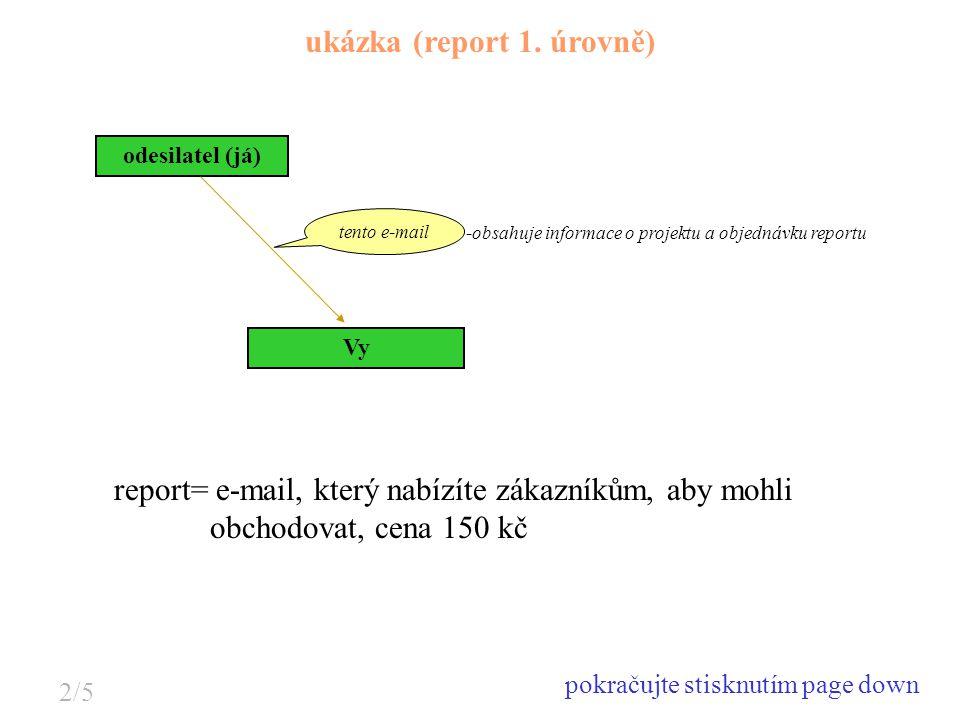 Vy -obsahuje informace o projektu a objednávku reportu ukázka (report 1. úrovně) odesilatel (já) tento e-mail report= e-mail, který nabízíte zákazníků
