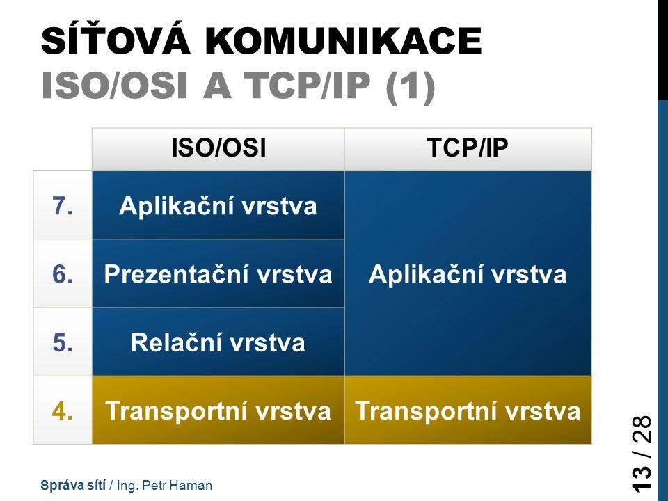 SÍŤOVÁ KOMUNIKACE ISO/OSI A TCP/IP (1) Správa sítí / Ing.