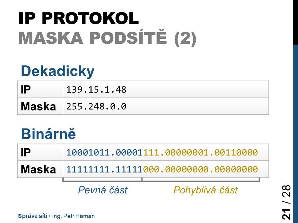 IP PROTOKOL MASKA PODSÍTĚ (2) Správa sítí / Ing.