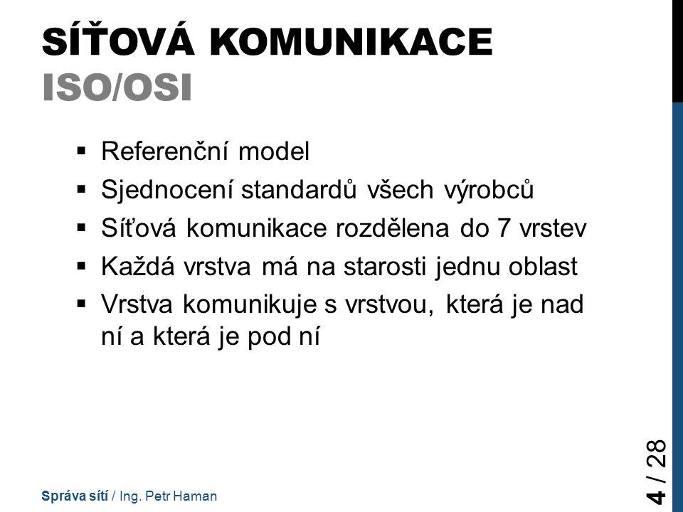 SÍŤOVÁ KOMUNIKACE VRSTVY ISO/OSI (1) 1.