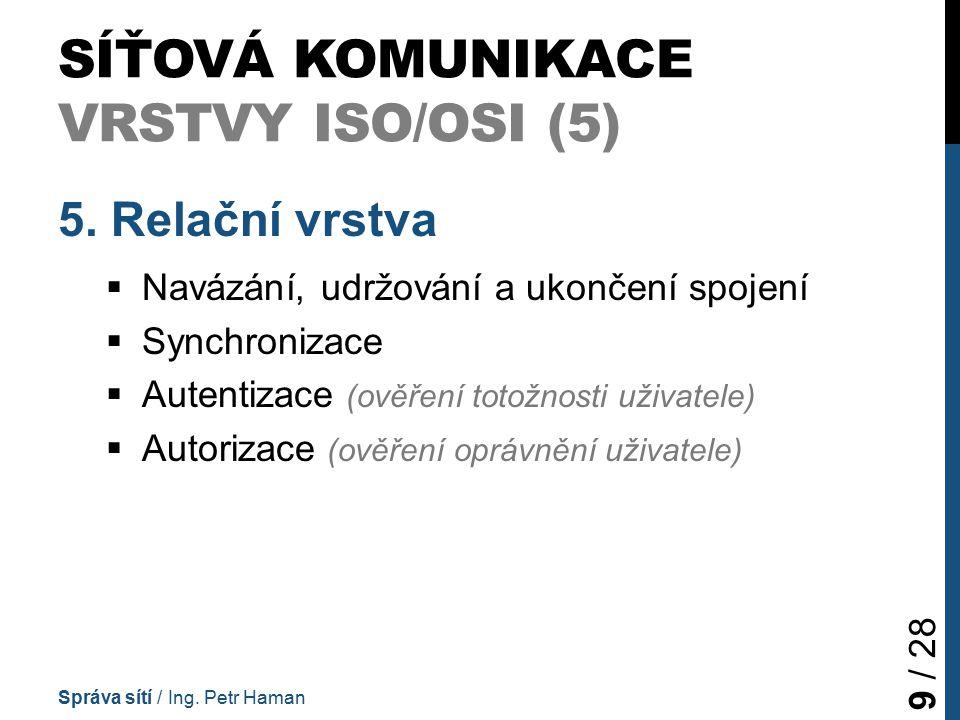 SÍŤOVÁ KOMUNIKACE VRSTVY ISO/OSI (5) 5.