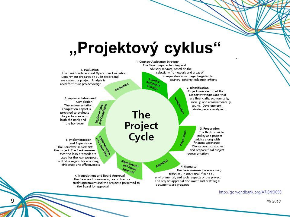 """IKI 2010 9 """"Projektový cyklus"""" http://go.worldbank.org/A7I3N9I090"""