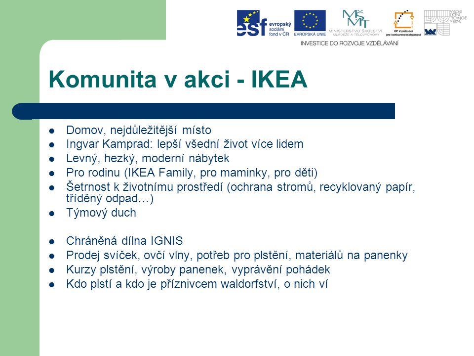 Komunita v akci - IKEA Domov, nejdůležitější místo Ingvar Kamprad: lepší všední život více lidem Levný, hezký, moderní nábytek Pro rodinu (IKEA Family, pro maminky, pro děti) Šetrnost k životnímu prostředí (ochrana stromů, recyklovaný papír, tříděný odpad…) Týmový duch Chráněná dílna IGNIS Prodej svíček, ovčí vlny, potřeb pro plstění, materiálů na panenky Kurzy plstění, výroby panenek, vyprávění pohádek Kdo plstí a kdo je příznivcem waldorfství, o nich ví