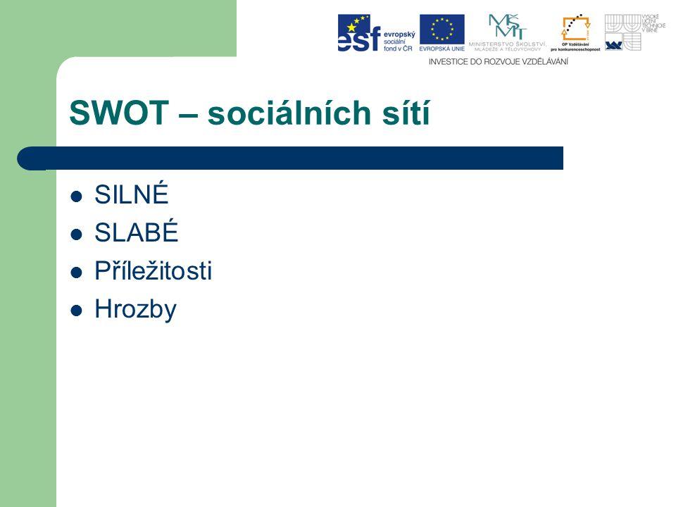 SWOT – sociálních sítí SILNÉ SLABÉ Příležitosti Hrozby