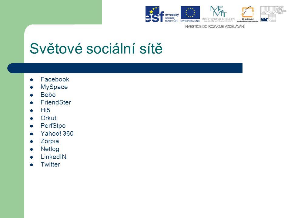 Světové sociální sítě Facebook MySpace Bebo FriendSter Hi5 Orkut PerfStpo Yahoo.