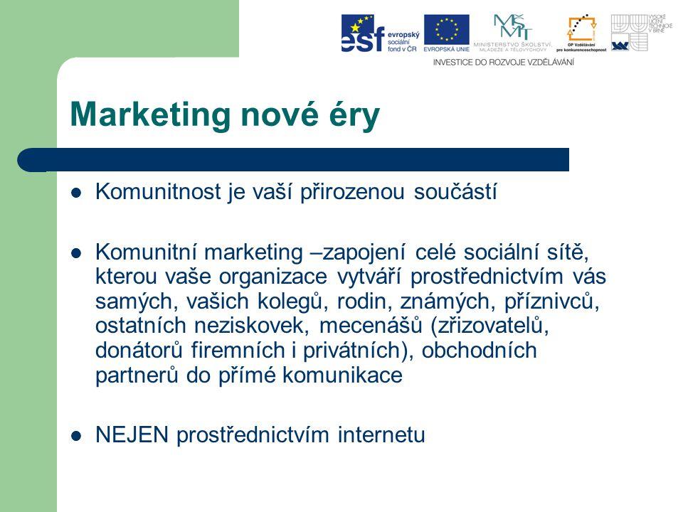 Marketing nové éry Komunitnost je vaší přirozenou součástí Komunitní marketing –zapojení celé sociální sítě, kterou vaše organizace vytváří prostřednictvím vás samých, vašich kolegů, rodin, známých, příznivců, ostatních neziskovek, mecenášů (zřizovatelů, donátorů firemních i privátních), obchodních partnerů do přímé komunikace NEJEN prostřednictvím internetu