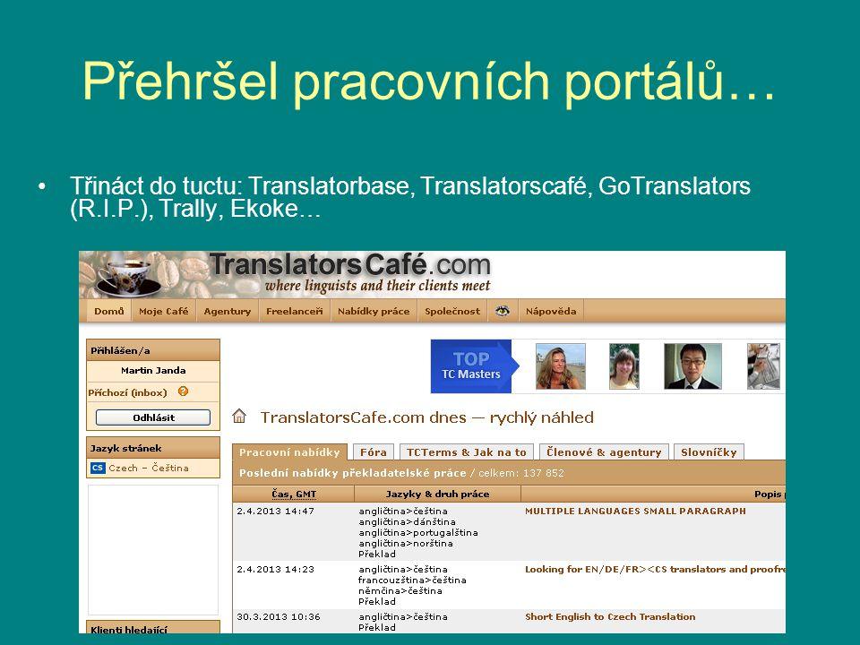 Přehršel pracovních portálů… Třináct do tuctu: Translatorbase, Translatorscafé, GoTranslators (R.I.P.), Trally, Ekoke…