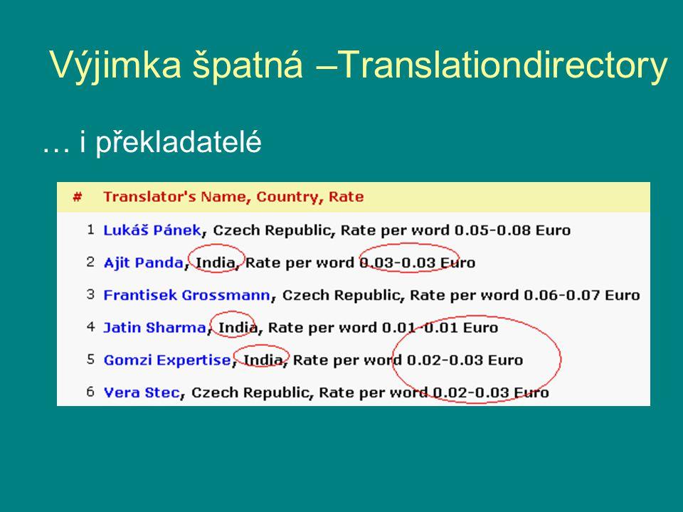 Výjimka špatná –Translationdirectory … i překladatelé