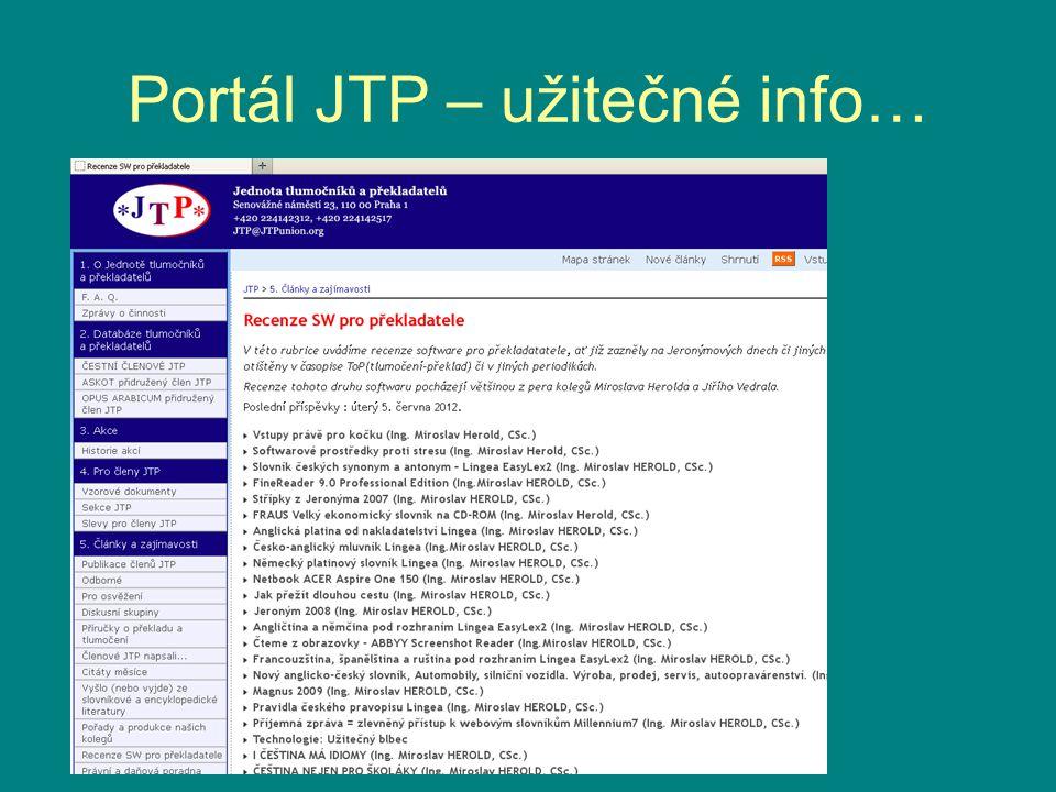 Portál JTP – užitečné info…