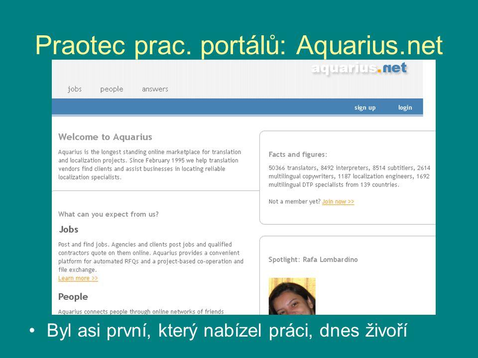 Praotec prac. portálů: Aquarius.net Byl asi první, který nabízel práci, dnes živoří