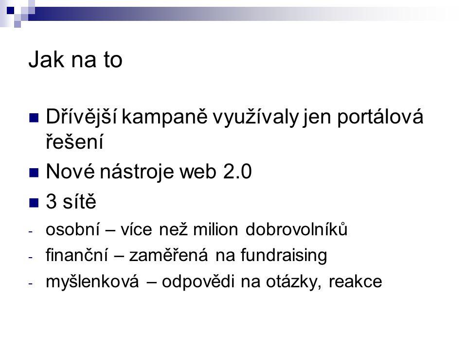 Jak na to Dřívější kampaně využívaly jen portálová řešení Nové nástroje web 2.0 3 sítě - osobní – více než milion dobrovolníků - finanční – zaměřená n