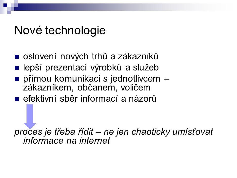 Nové technologie oslovení nových trhů a zákazníků lepší prezentaci výrobků a služeb přímou komunikaci s jednotlivcem – zákazníkem, občanem, voličem ef