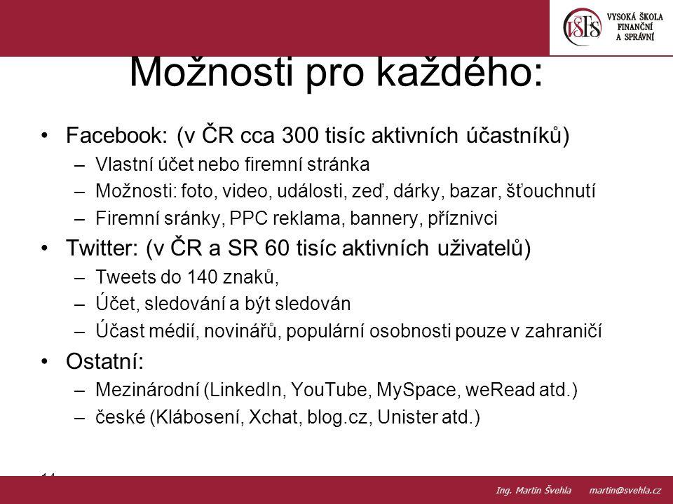 Facebook: (v ČR cca 300 tisíc aktivních účastníků) –Vlastní účet nebo firemní stránka –Možnosti: foto, video, události, zeď, dárky, bazar, šťouchnutí