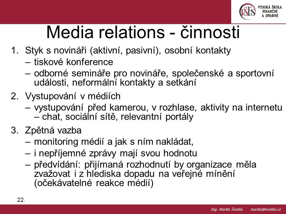 1.Styk s novináři (aktivní, pasivní), osobní kontakty –tiskové konference –odborné semináře pro novináře, společenské a sportovní události, neformální