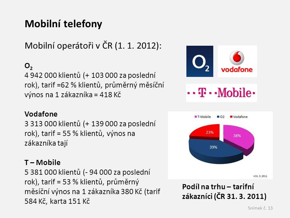 Snímek č.13 Mobilní telefony Podíl na trhu – tarifní zákazníci (ČR 31.