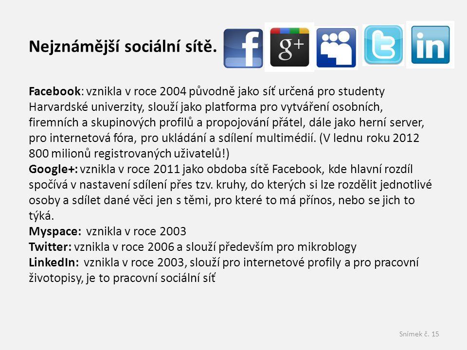 Snímek č.15 Nejznámější sociální sítě.