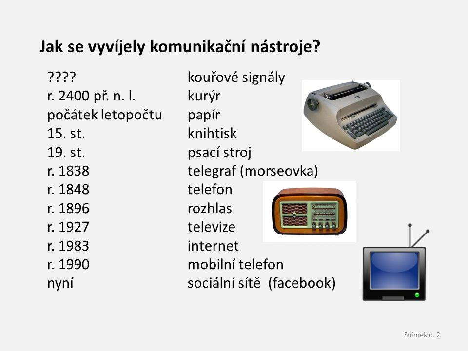Snímek č.2 Jak se vyvíjely komunikační nástroje. ???.