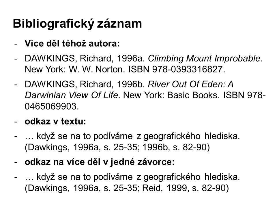 -Více děl téhož autora: -DAWKINGS, Richard, 1996a. Climbing Mount Improbable. New York: W. W. Norton. ISBN 978-0393316827. -DAWKINGS, Richard, 1996b.