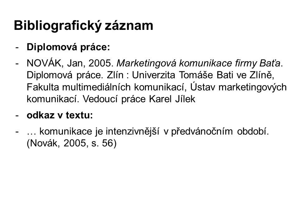 -Diplomová práce: -NOVÁK, Jan, 2005. Marketingová komunikace firmy Baťa. Diplomová práce. Zlín : Univerzita Tomáše Bati ve Zlíně, Fakulta multimediáln