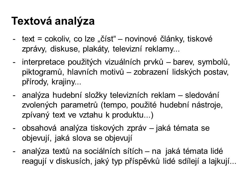 """Textová analýza -text = cokoliv, co lze """"číst"""" – novinové články, tiskové zprávy, diskuse, plakáty, televizní reklamy... -interpretace použitých vizuá"""