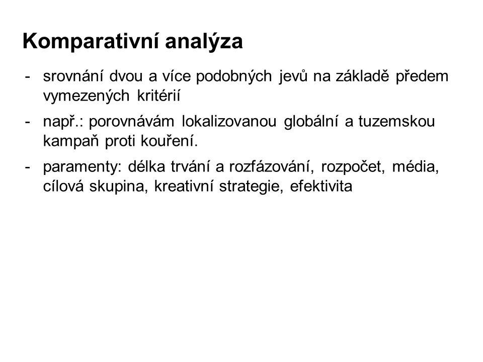 Komparativní analýza -srovnání dvou a více podobných jevů na základě předem vymezených kritérií -např.: porovnávám lokalizovanou globální a tuzemskou