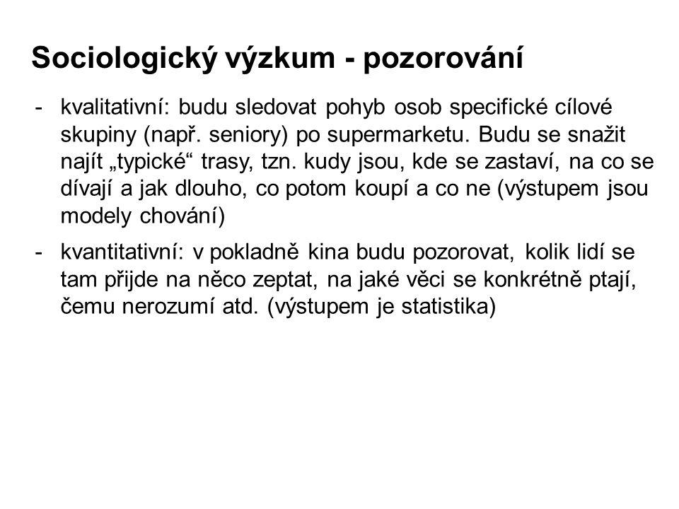 Sociologický výzkum - pozorování -kvalitativní: budu sledovat pohyb osob specifické cílové skupiny (např. seniory) po supermarketu. Budu se snažit naj