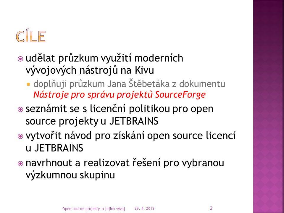  vývojové nástroje v rámci výzkumných skupin na KIVu  licenční politika pro open source projekty u JETBRAINS  TeamCity (popis agentů, použití, sestavení projektu, možné integrace, licenční politika)  Hudson (sestavení projektu, možné integrace, licenční politika)  TeamCity versus Hudson 29.