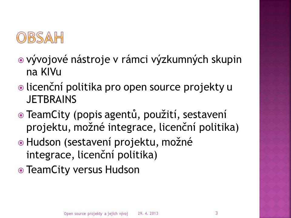  Nárůst počtu open source projektů  Nástroje pro vývoj a správu projektů:  Repositáře kódu (Bitbucket, Github, Assembla, …)  Sociální sítě (Facebook, LinkedIn, IBM Connections)  Integrovaná vývojová prostředí (Eclipse, NetBeans, Microsoft Visual Studio, IntelliJ IDEA)  Sestavovací nástroje a servery (Ant, Maven, Hudson, TeamCity) 29.