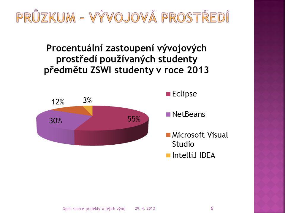  Pracovníci KIVu používají většinou Netbeans  Studenti bakalářského studia spíše Eclipse  Zájem o open source licence pro vývojové prostředí IntelliJ IDEA od JETBRAINS projevily tyto skupiny:  EEG/ERP skupina  LICS skupina 29.