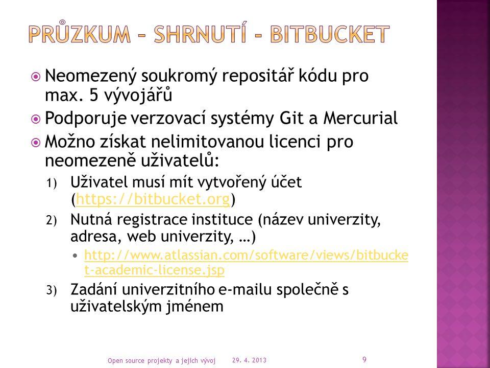 29. 4. 2013 Open source projekty a jejich vývoj 10