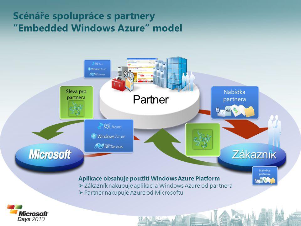 Scénáře spolupráce s partnery Embedded Windows Azure model Aplikace obsahuje použití Windows Azure Platform  Zákazník nakupuje aplikaci a Windows Azure od partnera  Partner nakupuje Azure od Microsoftu