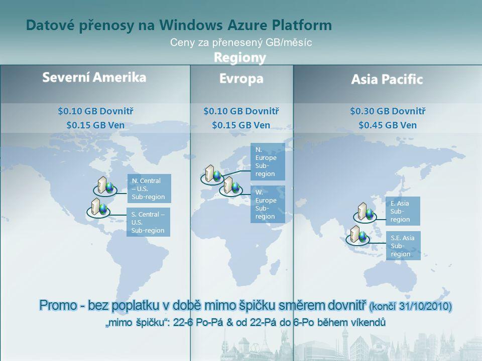 Datové přenosy na Windows Azure Platform $0.10 GB Dovnitř$0.10 GB Dovnitř $0.15 GB Ven$0.15 GB Ven $0.10 GB Dovnitř$0.10 GB Dovnitř $0.15 GB Ven$0.15 GB Ven $0.30 GB Dovnitř$0.30 GB Dovnitř $0.45 GB Ven$0.45 GB Ven S.