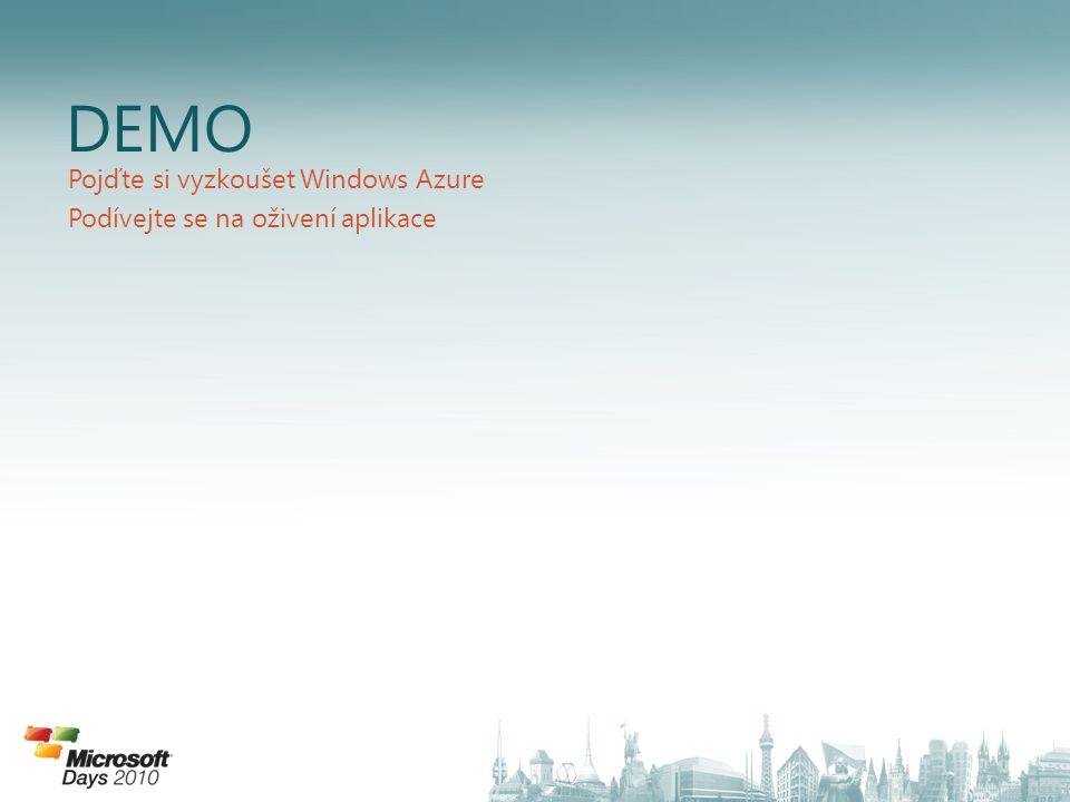 DEMO Pojďte si vyzkoušet Windows Azure Podívejte se na oživení aplikace