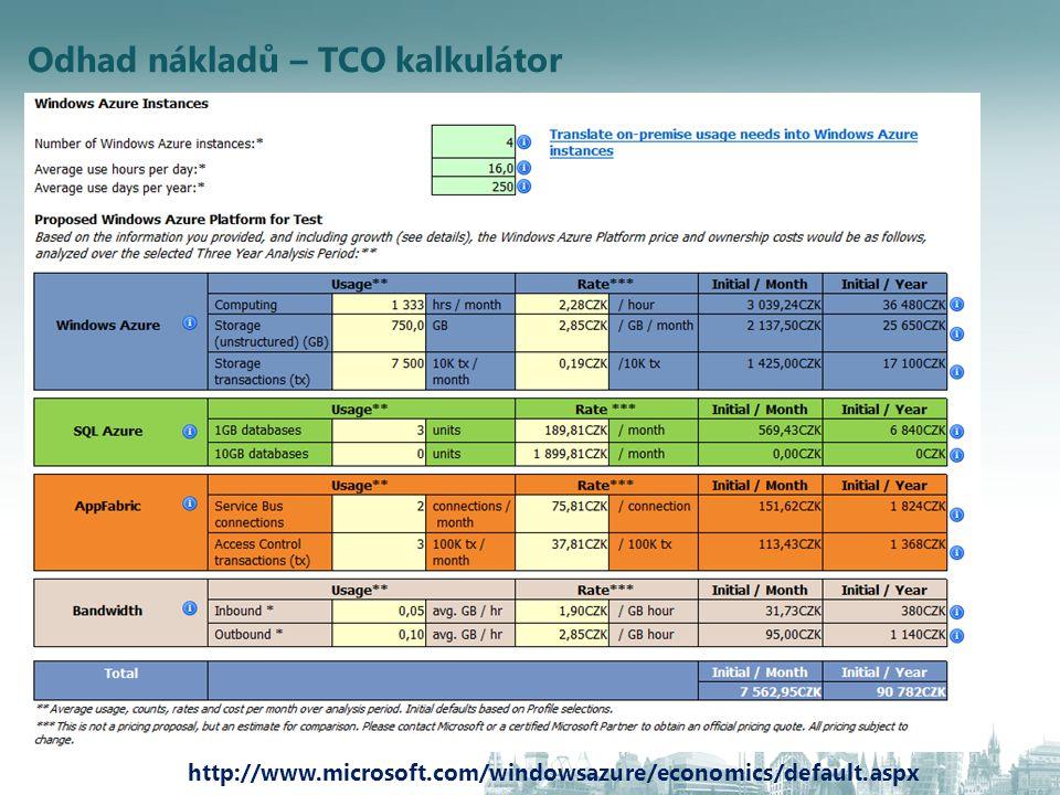 Odhad nákladů – TCO kalkulátor http://www.microsoft.com/windowsazure/economics/default.aspx