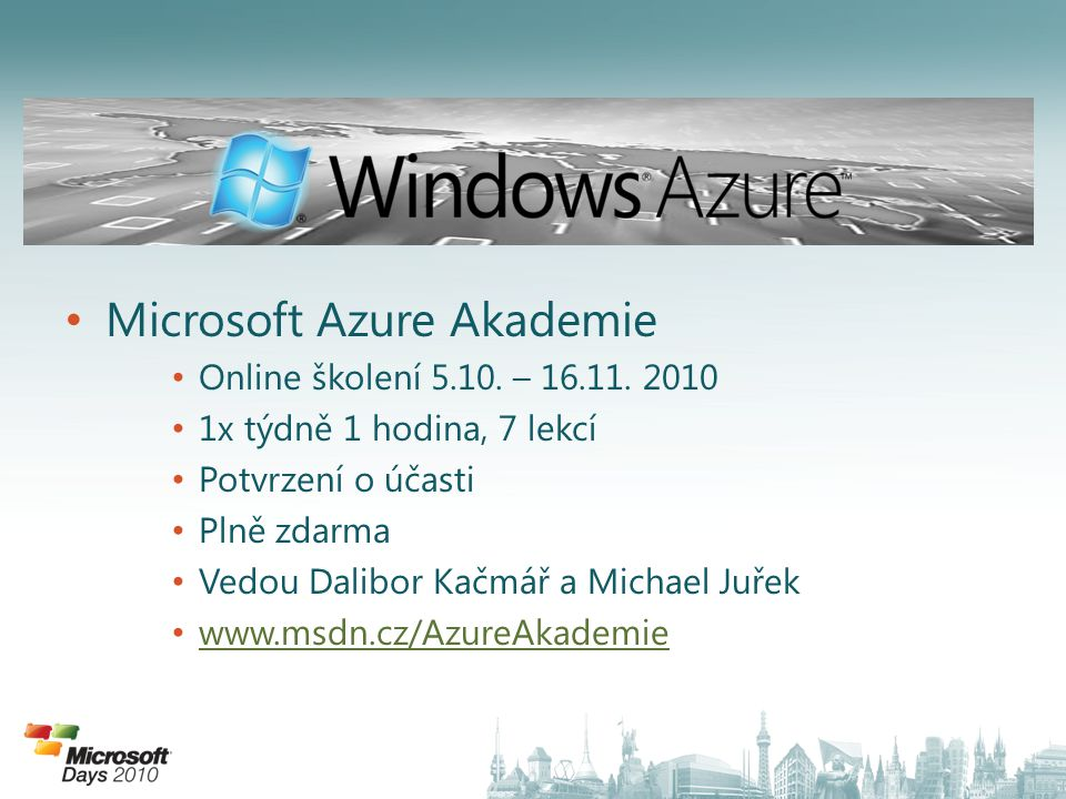Microsoft Azure Akademie Online školení 5.10. – 16.11.
