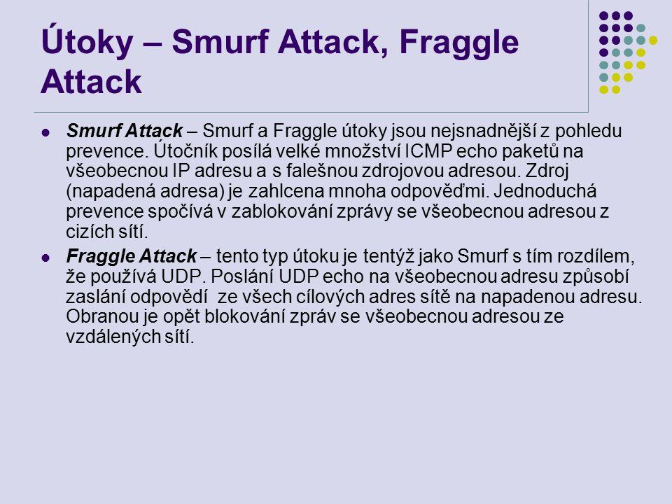 Útoky – Smurf Attack, Fraggle Attack Smurf Attack – Smurf a Fraggle útoky jsou nejsnadnější z pohledu prevence.