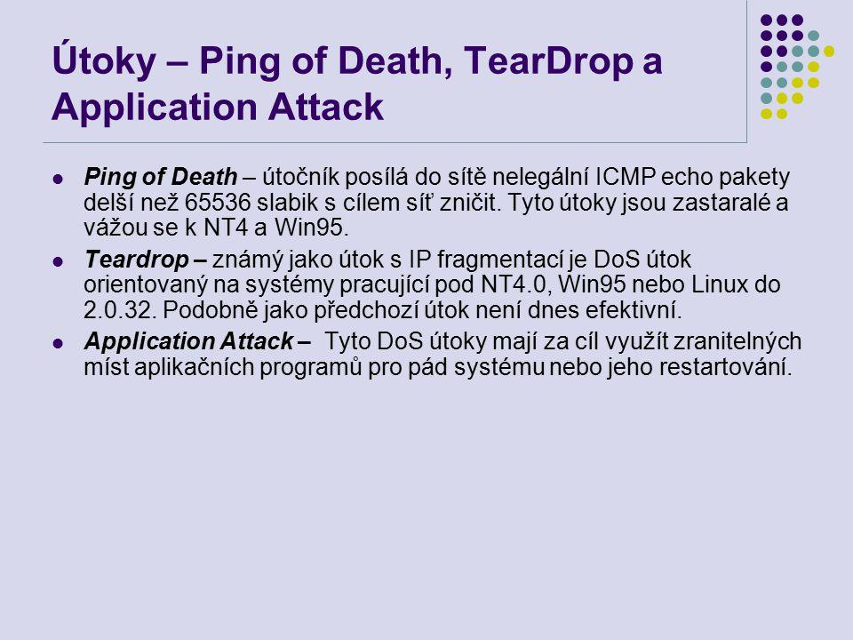 Útoky – Ping of Death, TearDrop a Application Attack Ping of Death – útočník posílá do sítě nelegální ICMP echo pakety delší než 65536 slabik s cílem síť zničit.