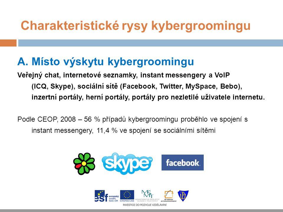 Charakteristické rysy kybergroomingu A.Místo výskytu kybergroomingu Veřejný chat, internetové seznamky, instant messengery a VoIP (ICQ, Skype), sociál