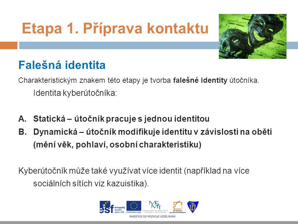 Etapa 1. Příprava kontaktu Falešná identita Charakteristickým znakem této etapy je tvorba falešné identity útočníka. Identita kyberútočníka: A.Statick