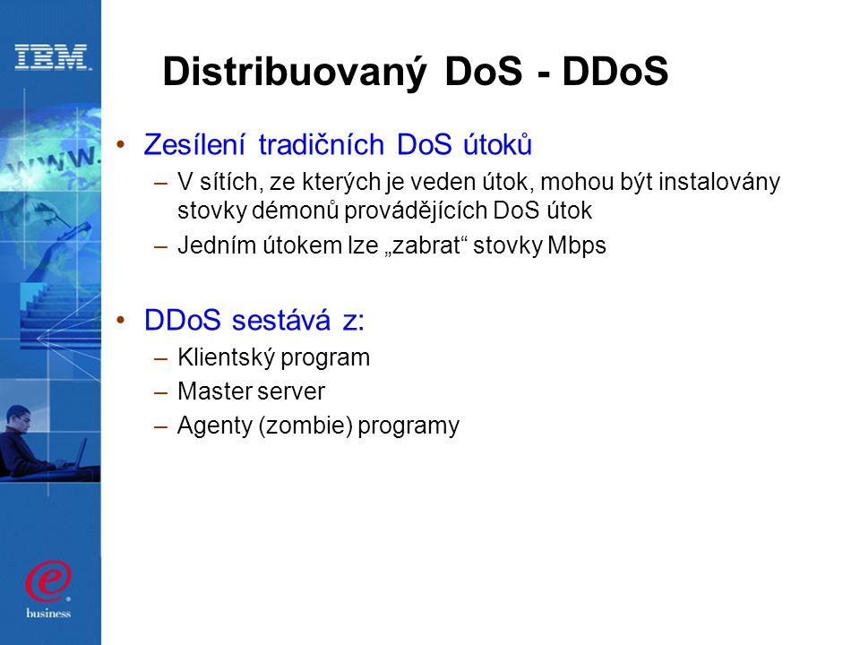 """Distribuovaný DoS - DDoS Zesílení tradičních DoS útoků –V sítích, ze kterých je veden útok, mohou být instalovány stovky démonů provádějících DoS útok –Jedním útokem lze """"zabrat stovky Mbps DDoS sestává z: –Klientský program –Master server –Agenty (zombie) programy"""