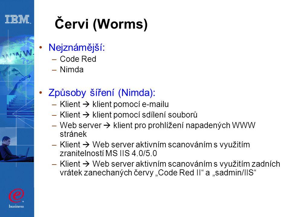 """Červi (Worms) Nejznámější: –Code Red –Nimda Způsoby šíření (Nimda): –Klient  klient pomocí e-mailu –Klient  klient pomocí sdílení souborů –Web server  klient pro prohlížení napadených WWW stránek –Klient  Web server aktivním scanováním s využitím zranitelností MS IIS 4.0/5.0 –Klient  Web server aktivním scanováním s využitím zadních vrátek zanechaných červy """"Code Red II a """"sadmin/IIS"""