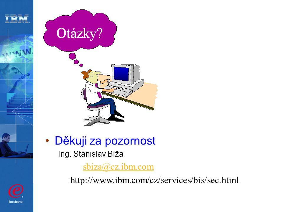 Děkuji za pozornost Ing. Stanislav Bíža sbiza@cz.ibm.com http://www.ibm.com/cz/services/bis/sec.html