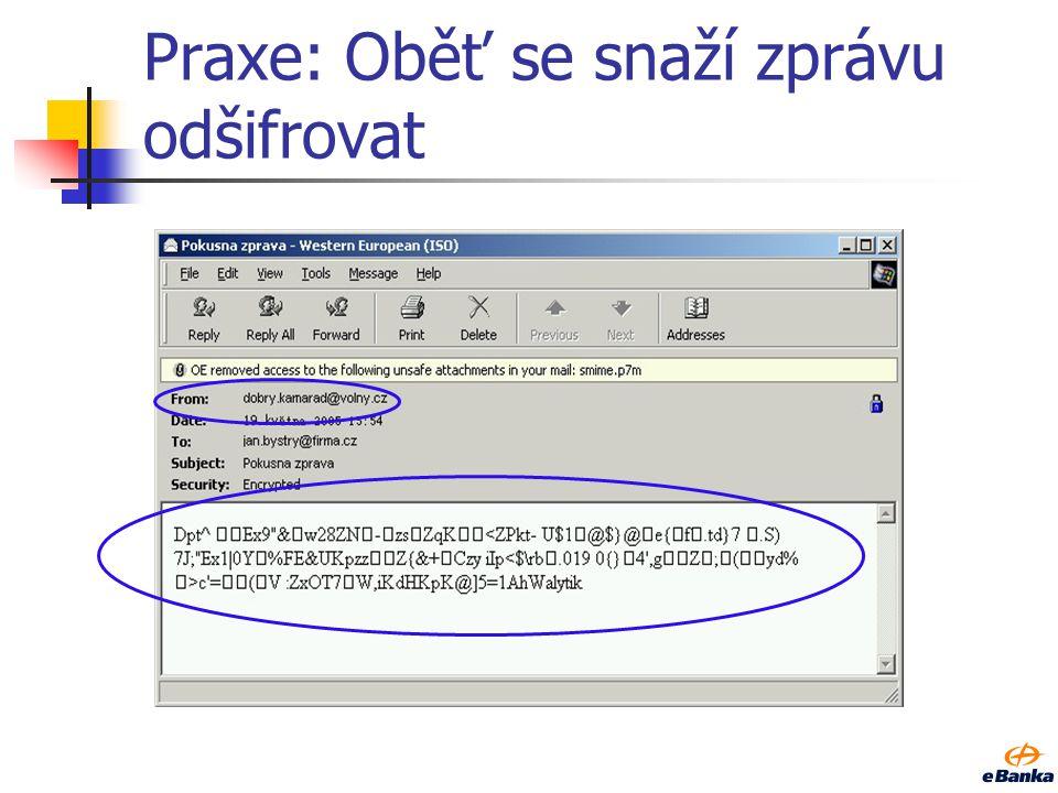 Praxe: Útočník modifikuje bloky šifrového textu