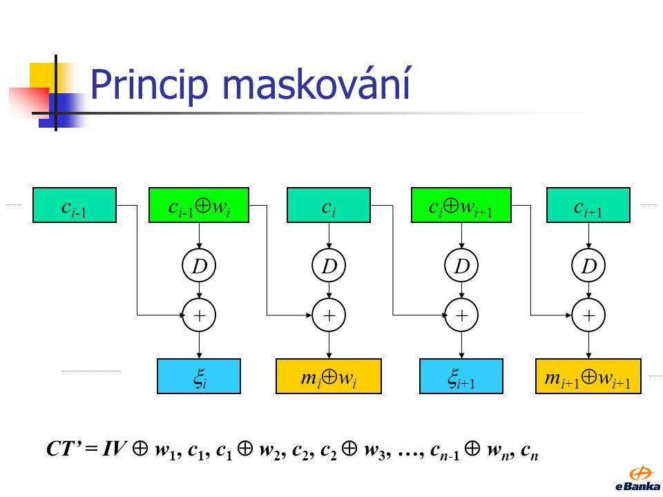 Modus CBC m i-1 mimi m i+1 c i-2 c i-1 cici c i+1 E + + D m i-1 mimi m i+1 + E + E D + D +