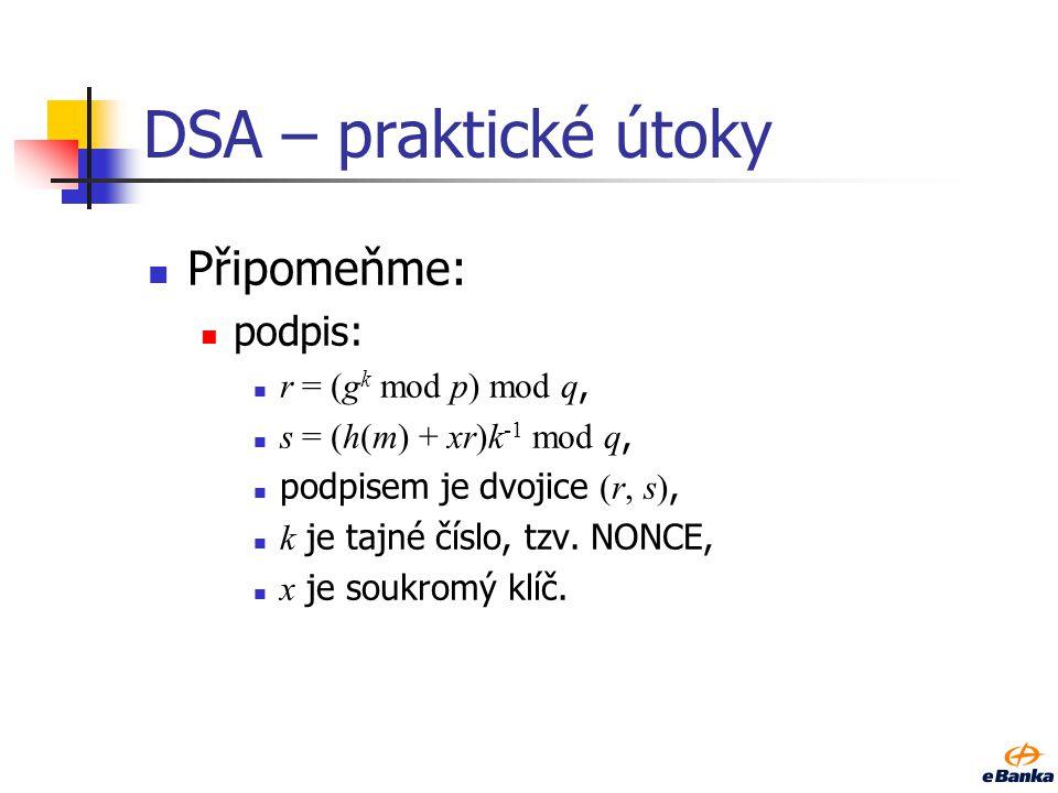RSA – soukromý klíč Chybové útoky, hlavně na RSA-CRT.