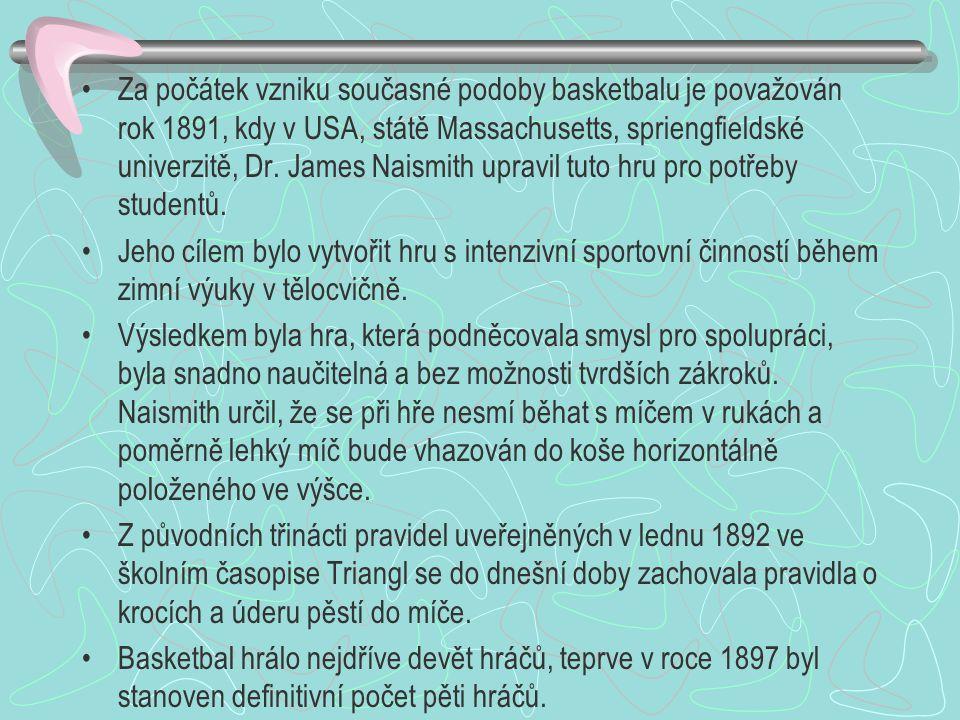 Za počátek vzniku současné podoby basketbalu je považován rok 1891, kdy v USA, státě Massachusetts, spriengfieldské univerzitě, Dr. James Naismith upr