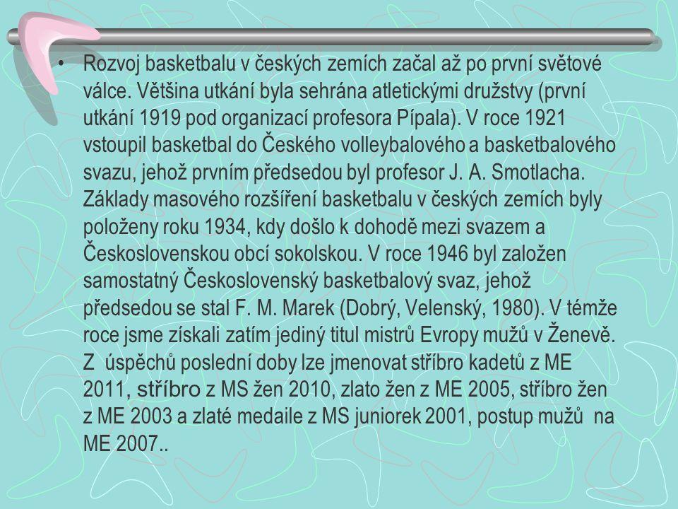 Rozvoj basketbalu v českých zemích začal až po první světové válce. Většina utkání byla sehrána atletickými družstvy (první utkání 1919 pod organizací