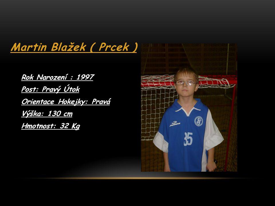 Josef Můčka ( Jožka) Rok Narození: 1998 Post: Pravý Útočník Orientace Hokejky: Levá Výška: 153 cm Hmotnost: 44 Kg